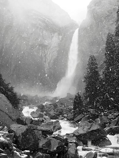 Lower Yosemite Falls in a Spring Snow storm by Mark Ramstead