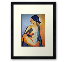 Bright bold Seated Nude, Abstract Acrylic Painting, 2008 Framed Print