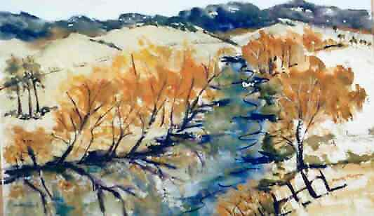 Jamieson River (watercolour) Victoria Australia by Margaret Morgan (Watkins)