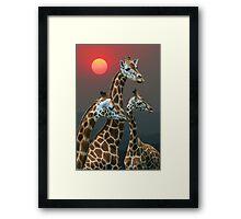 SUNSET WITH GIRAFFES 3 Framed Print