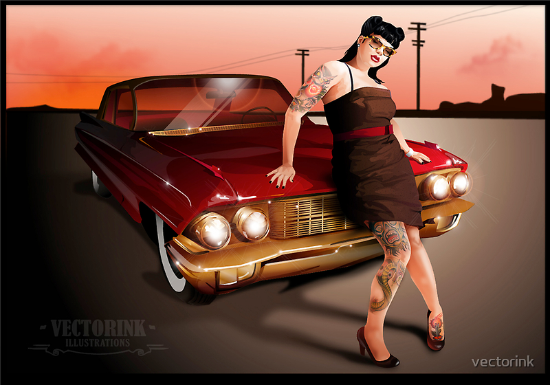 Pinup with a hot ride by vectorink