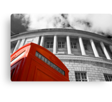 Red telephone box and Manchester library Canvas Print