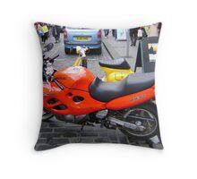 orange motorbike Throw Pillow