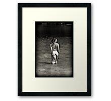 heart shaped world black and white Framed Print