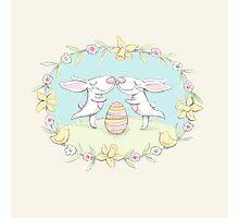 kissing bunnies Photographic Print