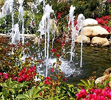 Fountain and Flowers by Marie Sharp