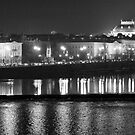 Nightscape from Charles Bridge # 1 (Prague) B&W by ChrisHarvey67