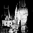 "Nigh View of West End of Charles Bridge (Prague) ""CONTRE CRAYON"" by ChrisHarvey67"
