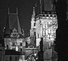 "Night View of West End of Charles Bridge (Prague) ""INK OUTLINES by ChrisHarvey67"