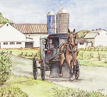 Amish Farm and Buggy by morgansartworld