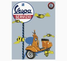 Vespa service station  Swarm Baby Blue shadow by Roydon Johnson
