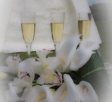 3 Champagne glasses and Wedding Dress by Rachel Wyllie