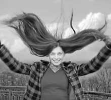 Girl with fly-away long hair by moonimage