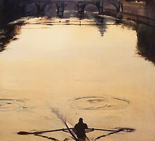 """The Oarsman"" Tiber River Watercolor by Paul Jackson"