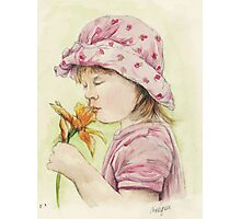 Girl with a Daffodil Photographic Print