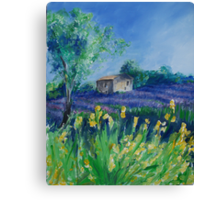 Lavender Field With Yellow Flowers painting Canvas Print