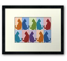 Silhouette Cat Collage Pattern New Media Art Framed Print