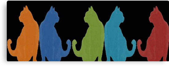 Reflected Images Of A Line Of Cats on Black by taiche