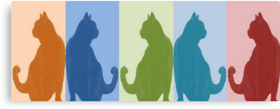 Reflected Images Of A Line Of Cats by taiche