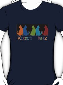 Kitsch Cats Silhouette Cat Collage Pattern on Black T-Shirt