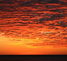 Orange Sunset over Lake Superior by Karen K Smith