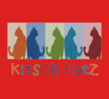 Kitsch Cats Silhouette Cat Collage On Pastel Background Kids Clothes