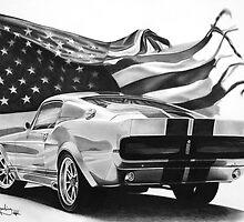 Mustang & Flag by John Harding