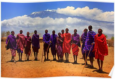 Kilimanjaro and Masai villagers. Kenya, Africa. by photosecosse /barbara jones