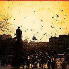 Pigeons take flight in Trafalgar Square by Elana Bailey