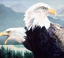 """Vigilance"" Bald Eagle Watercolor by Paul Jackson"