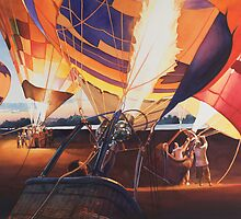 """Fireflies"" Hot Air Balloons Watercolor by Paul Jackson"