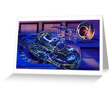 """""""Jazz In Blues"""" Watercolor Greeting Card"""