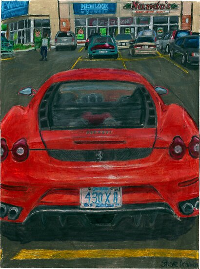 A coloured pencil drawing of the rear of a Ferrari F430 Berlinetta. by SteveBrandon