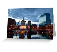 Gateway arch and The Courthouse building at dawn in St. Louis Greeting Card