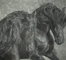 Two Friesian Stallions by Gail Finger