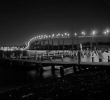Night Lights on the Naval Academy Bridge by Nelson  Ramm