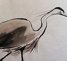 Japanese Crane by Ming  Myaskovsky