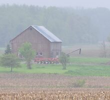Misty Red Barn Scene by mltrue