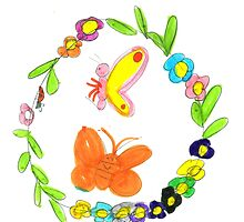 Spring Wreath Of Flowers (And Two Butterflies) by Minerva -Athina