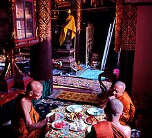 Thai temple scene by John Spies