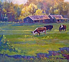 Morning Field with Cows by jimmie