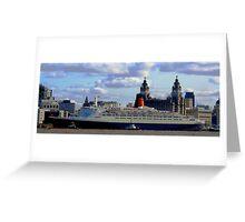 Qe2 at Liverpool 2008 Greeting Card