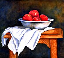 WHITE BOWL WITH APPLES by Mary  Lawson