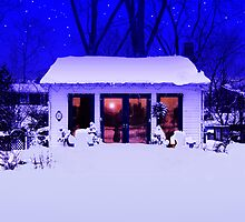 Winter House at Night by Baye Hunter