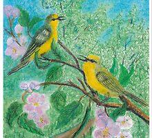 Yellow warblers -oil pastels by Gordon Pegler