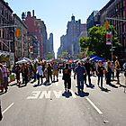 Columbus Day on Amsterdam Avenue, New York by Zal Lazkowicz