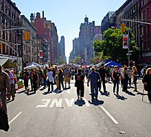 Columbus Day on Amsterdam Avenue, New York by Zal Lazkowicz