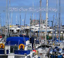 Father's Day Card with Boats at Amble Marina Northumberland by Moonlake