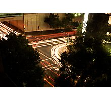 Street Lights at a busy intersection Photographic Print