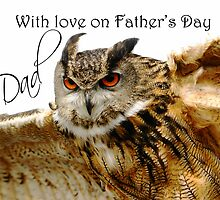 Father's Day Card with Eagle owl in Flight by Moonlake